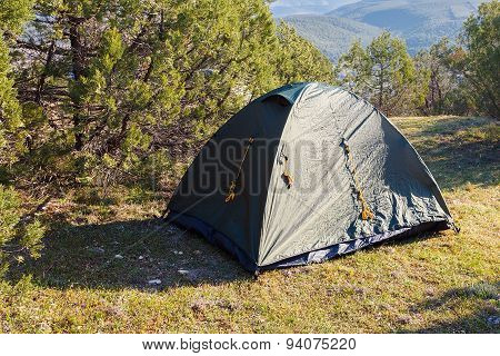 Installed Tourist Tent In The Woods.