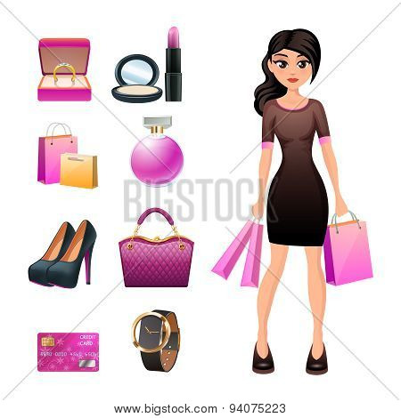 Women shopping decorative set