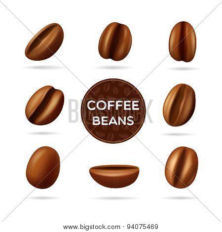 Coffee beans concept set