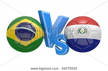 Soccer competition, national teams Brazil vs Paraguay