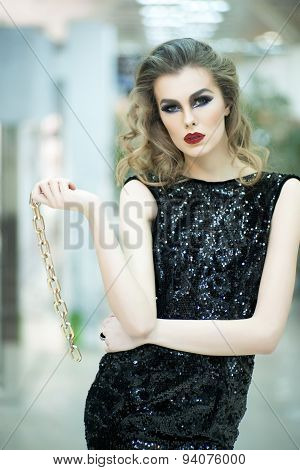 Beautiful Woman In Dress With Gold Chain