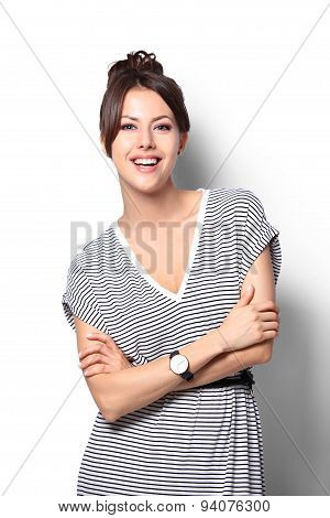 Pretty Excited Woman Happy Smile, Young Attractive Girl Portrait Stand Folded Hands Wear Shirt, Look
