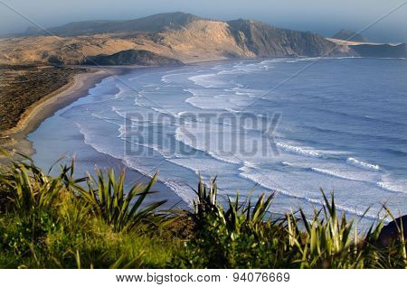 Te Werahi beach at the edge of the northland New Zealand.