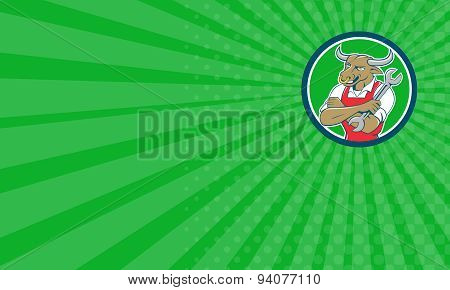 Business Card Bull Mechanic Spanner Standing Circle Cartoon