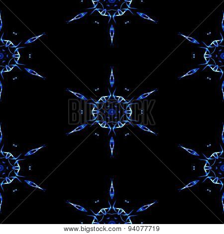 Abstract Seamless Frozen Snowflakes In Winter Texture Or Background