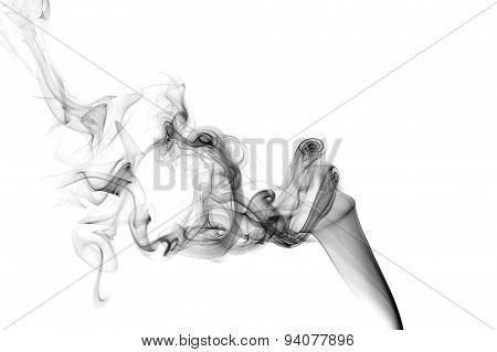 Black smoke on a white background