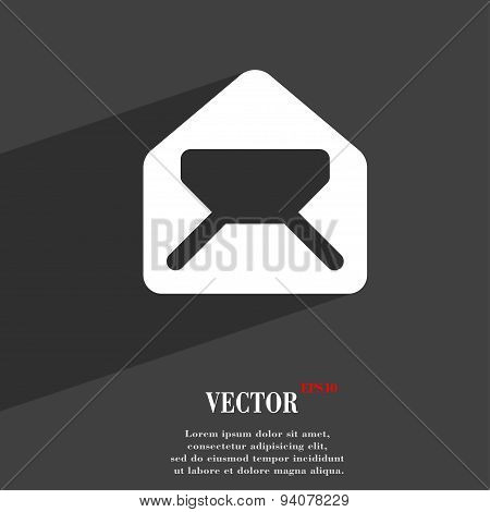 Mail, Envelope, Letter Icon Symbol Flat Modern Web Design With Long Shadow And Space For Your Text.