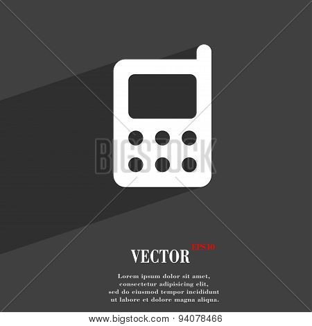 Mobile Phone Icon Symbol Flat Modern Web Design With Long Shadow And Space For Your Text. Vector