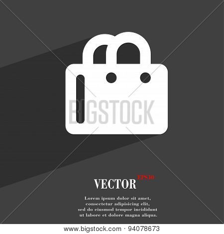 Shopping Bag Icon Symbol Flat Modern Web Design With Long Shadow And Space For Your Text. Vector