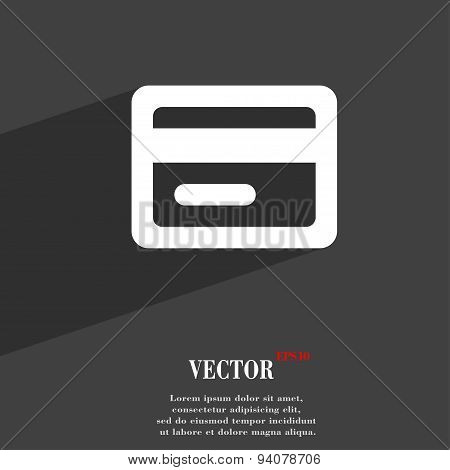 Credit Card Icon Symbol Flat Modern Web Design With Long Shadow And Space For Your Text. Vector