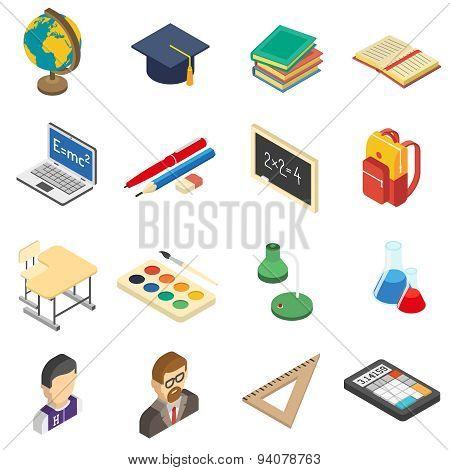 School isometric icons set