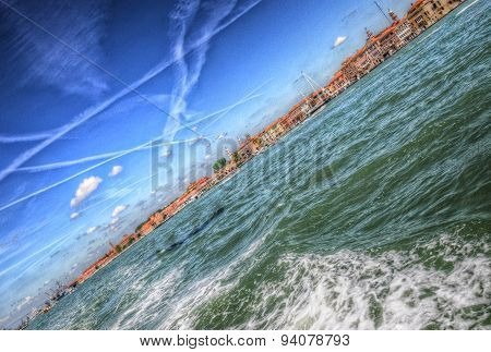Waves And Splashes Of Water In The Mediterranean Sea, Venice, Italy (hdr)