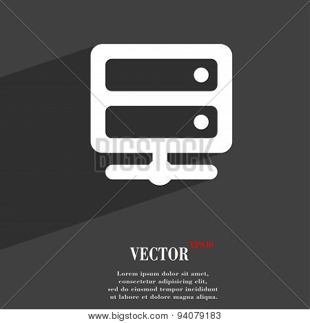 Server Icon Symbol Flat Modern Web Design With Long Shadow And Space For Your Text. Vector