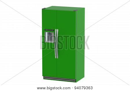 Green Modern Fridge With Side-by-side Door System