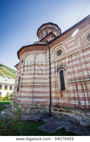 Cozia Monastery Church With Visiting Tourists