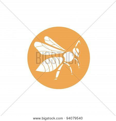 Silhouette of a bee on orange background