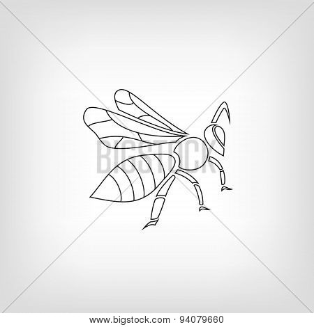Silhouette of a bee on light background