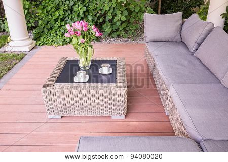 Summer House With Wicker Furniture