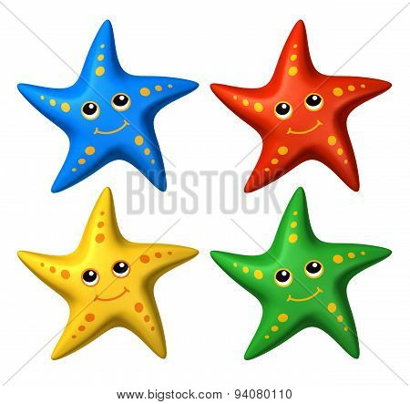 3D Collection Of Colorful Smiling Starfish Toys Looking Up