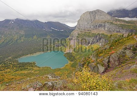 Looking Down At An Alpine Lake In The Fall