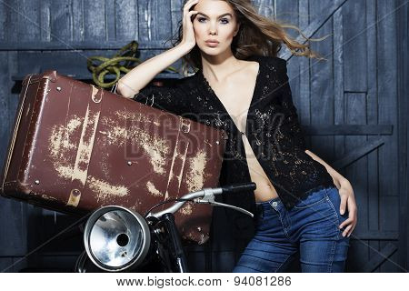 Sexy Woman Near Motorcycle And Suitcase