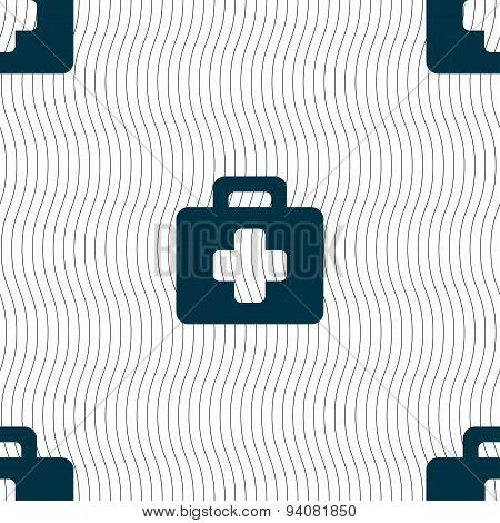 First Aid Kit Icon Sign. Seamless Pattern With Geometric Texture. Vector