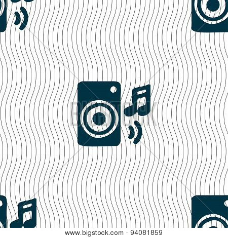 Music Column, Disco, Music, Melody, Speaker Icon Sign. Seamless Pattern With Geometric Texture. Vect