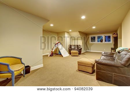 Large Childrens Play Room With Carpet.