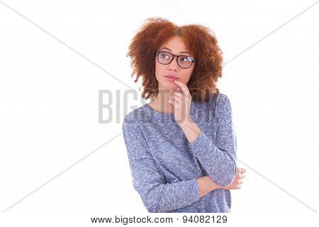Young African American Teenage Girl Looking Up, Isolated On White Background