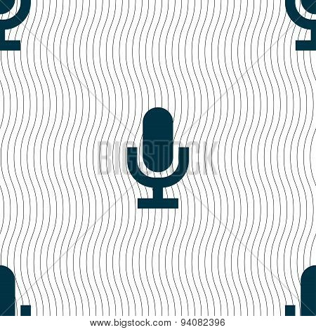Microphone Icon Sign. Seamless Pattern With Geometric Texture. Vector