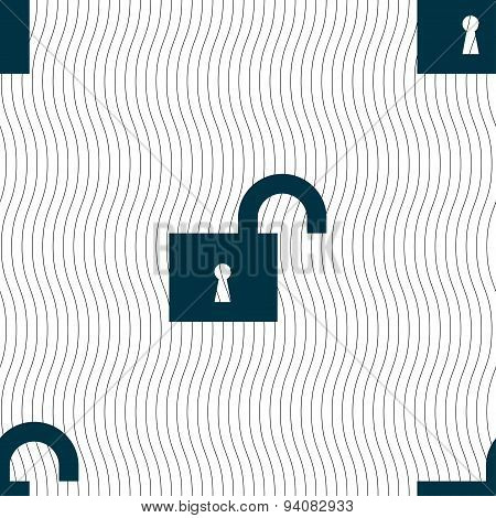 Open Lock Icon Sign. Seamless Pattern With Geometric Texture. Vector