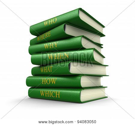 Stack of books with questions (clipping path included)