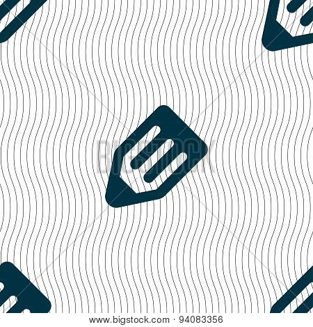 Pencil Icon Sign. Seamless Pattern With Geometric Texture. Vector