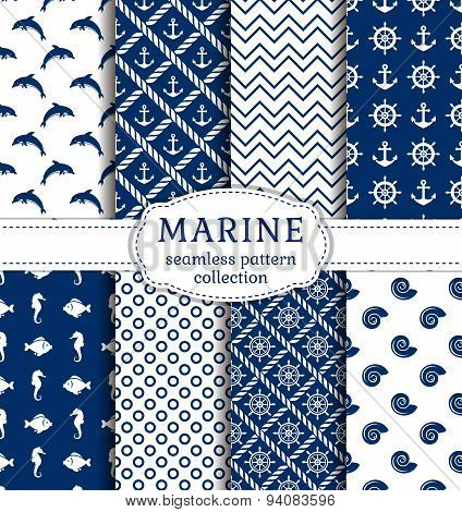 Sea And Nautical Seamless Patterns Set.