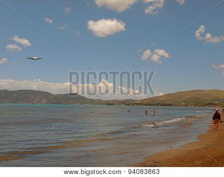 Flight over the beach.