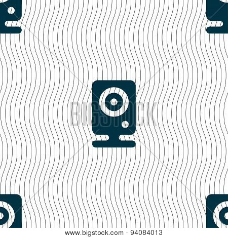 Web Cam Icon Sign. Seamless Pattern With Geometric Texture. Vector