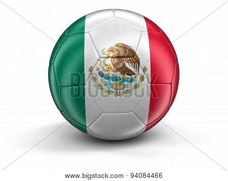Soccer football with Mexican flag