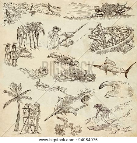 Hawaii - Full Sized Hand Drawn Illustrations On Old Paper