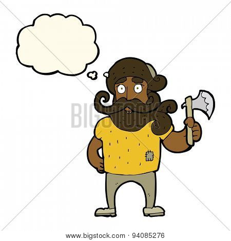 cartoon lumberjack with axe with thought bubble