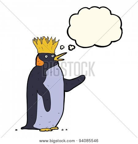 cartoon emperor penguin waving with thought bubble
