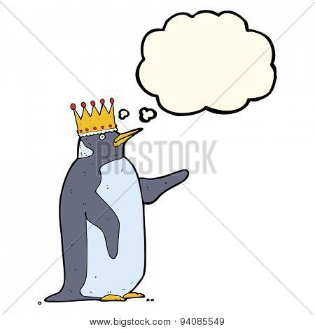 cartoon penguin wearing crown with thought bubble