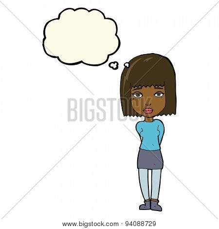 cartoon serious girl with thought bubble