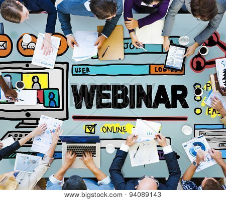 Webinar Online Seminar Global Communications Concept