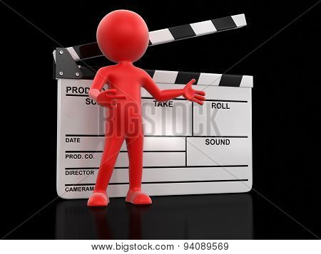 Man with Clapboard (clipping path included)