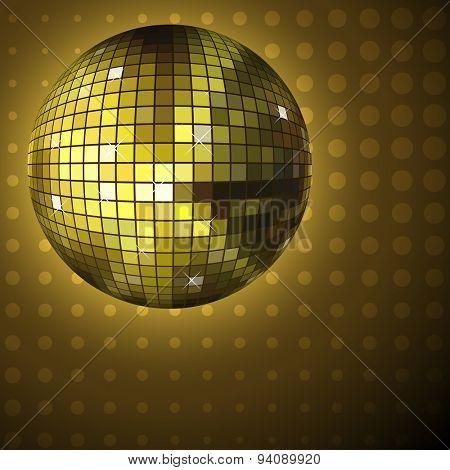 Golden disco ball background.