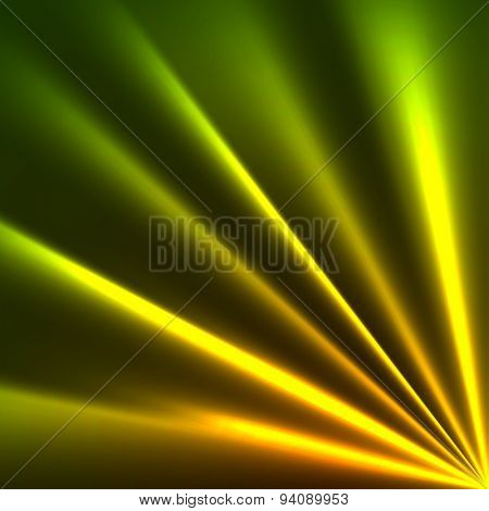 Yellow and green rays dark background.