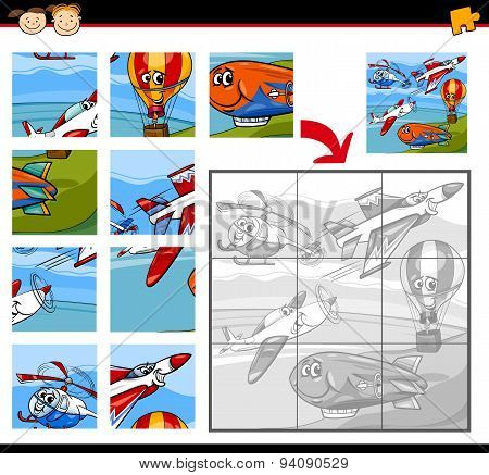 Cartoon Aircraft Jigsaw Puzzle Game