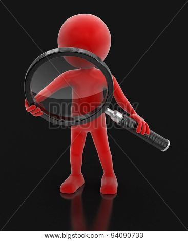 Man with loupe (clipping path included)