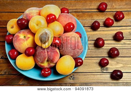 Plate With Fruits On Table