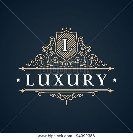 Calligraphic Luxury logo. Emblem elegant decor elements. Vintage vector symbol ornament L